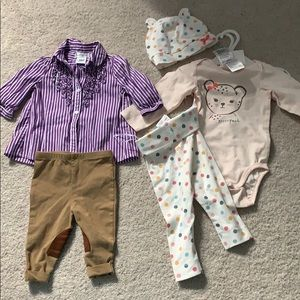 NWOT onesie set and guc riding set 6 mo